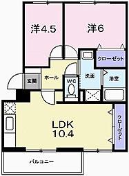 兵庫県姫路市広畑区蒲田1丁目の賃貸マンションの間取り