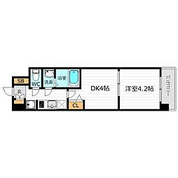 Osaka Metro長堀鶴見緑地線 京橋駅 徒歩3分の賃貸マンション 4階1DKの間取り