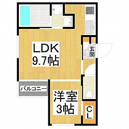 REGALEST北野田(レガリストキタノダ) 2階1LDKの間取り