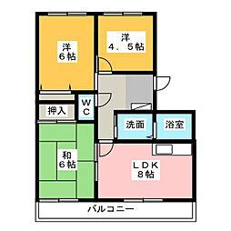 サンライズ弥栄III[2階]の間取り