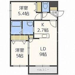 北海道札幌市東区北二十二条東18丁目の賃貸マンションの間取り