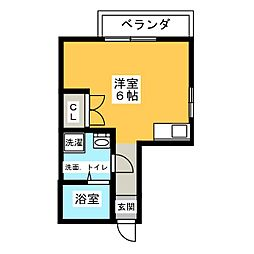 Hatsudai Flat 1階ワンルームの間取り