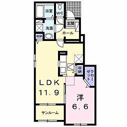JR鹿児島本線 熊本駅 バス54分 五霊中学校下車 徒歩9分の賃貸アパート 1階1LDKの間取り
