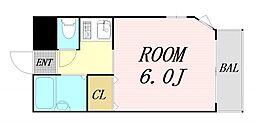 クレセント都島 5階1Kの間取り