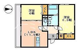 サニーハイツ平田[3011号室]の間取り