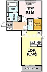 グロリアB棟 2階1LDKの間取り