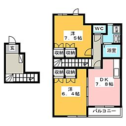エバープレイスIII[2階]の間取り