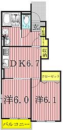 千葉県野田市桜の里1丁目の賃貸アパートの間取り