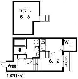 Osaka Metro谷町線 田辺駅 徒歩6分の賃貸アパート 2階1Kの間取り
