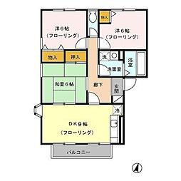 東京都八王子市長沼町の賃貸アパートの間取り