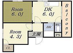 アークパル[1階]の間取り