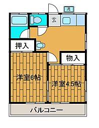 サクラ玉川コ−ポ[2階]の間取り