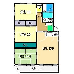 ヒポハウス3[1階]の間取り