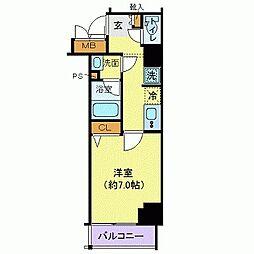 グランヴァン赤坂 2階1Kの間取り