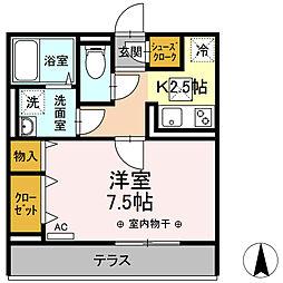 小田急小田原線 本厚木駅 徒歩4分の賃貸アパート 1階1Kの間取り