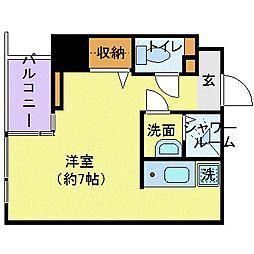 東京メトロ銀座線 三越前駅 徒歩5分の賃貸マンション 3階ワンルームの間取り