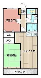 レイクランドI[3階]の間取り