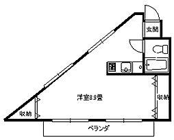 ロイヤルシャトル大倉山[101号号室]の間取り