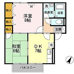 広島県福山市松永町2丁目の賃貸アパートの間取り