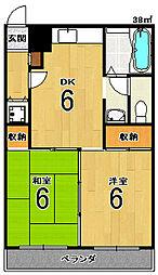 サンライブマンションI[2F号室]の間取り