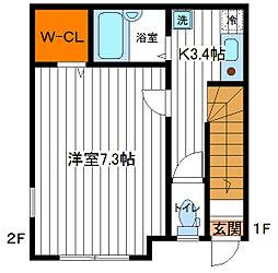 JR中央線 立川駅 徒歩13分の賃貸アパート 2階1Kの間取り