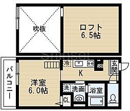大阪府堺市東区日置荘西町2丁の賃貸アパートの間取り