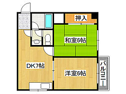 八阪ハイツ[6階]の間取り