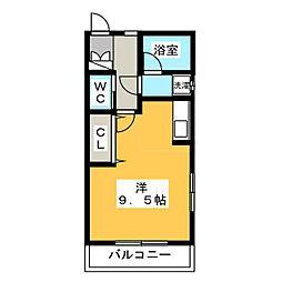 小島アパートN棟 2階ワンルームの間取り