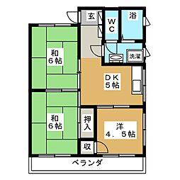 ハイツ富沢[4階]の間取り