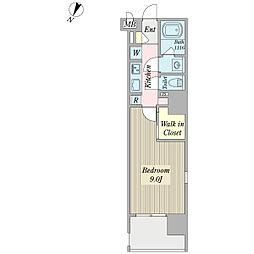ボナール プランドール 13階1Kの間取り