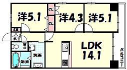 レジディア三宮東[15階]の間取り