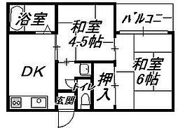 比枝コーポラス[2階]の間取り