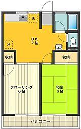 東京都府中市若松町3丁目の賃貸アパートの間取り