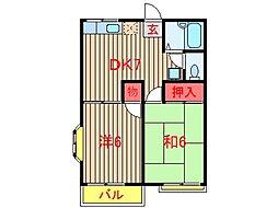 千葉県船橋市南三咲2丁目の賃貸アパートの間取り