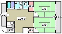 東ハイム[3階]の間取り