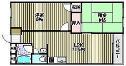 大阪府堺市南区高倉台2丁の賃貸マンションの間取り
