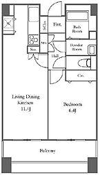 リバーシティ21イーストタワーズII 16階1LDKの間取り