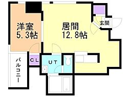 CASA:L/S/V:TOWER 9階1LDKの間取り