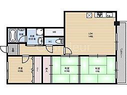 シャトーエトランボート[4階]の間取り