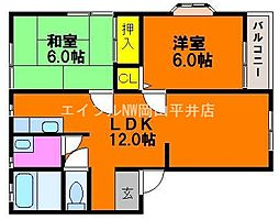 岡山県岡山市東区西大寺松崎丁目なしの賃貸アパートの間取り