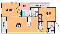 レーヴソレイユ[3階]の間取り