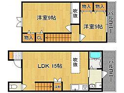 奈良県橿原市五条野町の賃貸アパートの間取り