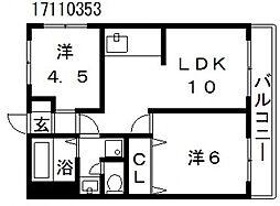大阪府大阪市東住吉区南田辺1丁目の賃貸マンションの間取り