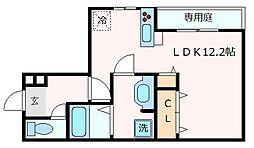 神戸市西神・山手線 新神戸駅 徒歩15分の賃貸アパート 1階ワンルームの間取り