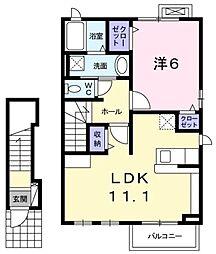 JR中央線 高尾駅 徒歩14分の賃貸アパート 2階1LDKの間取り