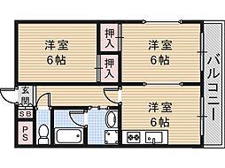 サンハイツ高井田[105号室]の間取り