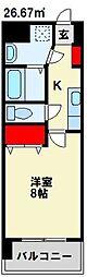 MDIアクトスぺリタ折尾駅前 5階1Kの間取り
