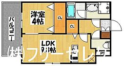 福岡県福岡市博多区博多駅南3丁目の賃貸マンションの間取り