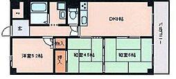 兵庫県姫路市勝原区大谷の賃貸マンションの間取り
