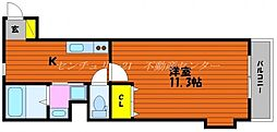 JR山陽本線 岡山駅 徒歩20分の賃貸アパート 2階1Kの間取り